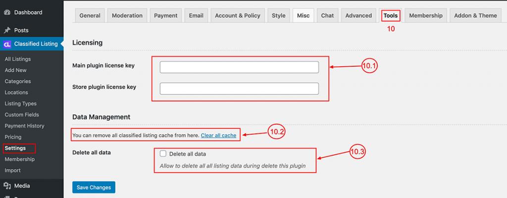 Classified listing settings tools