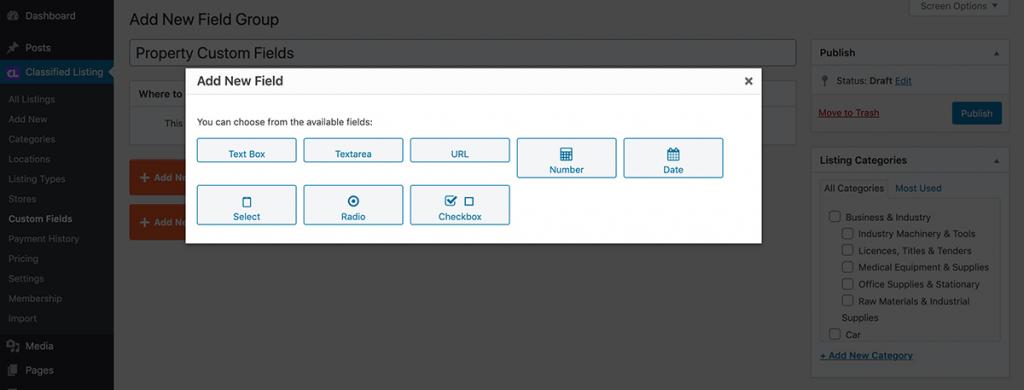 Custom fields type