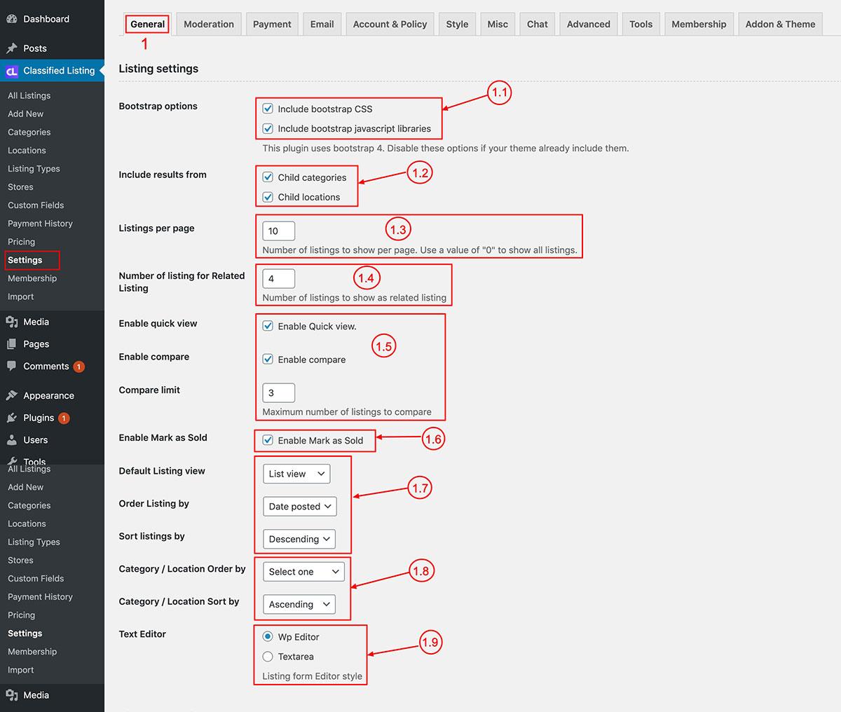 Classified listing settings