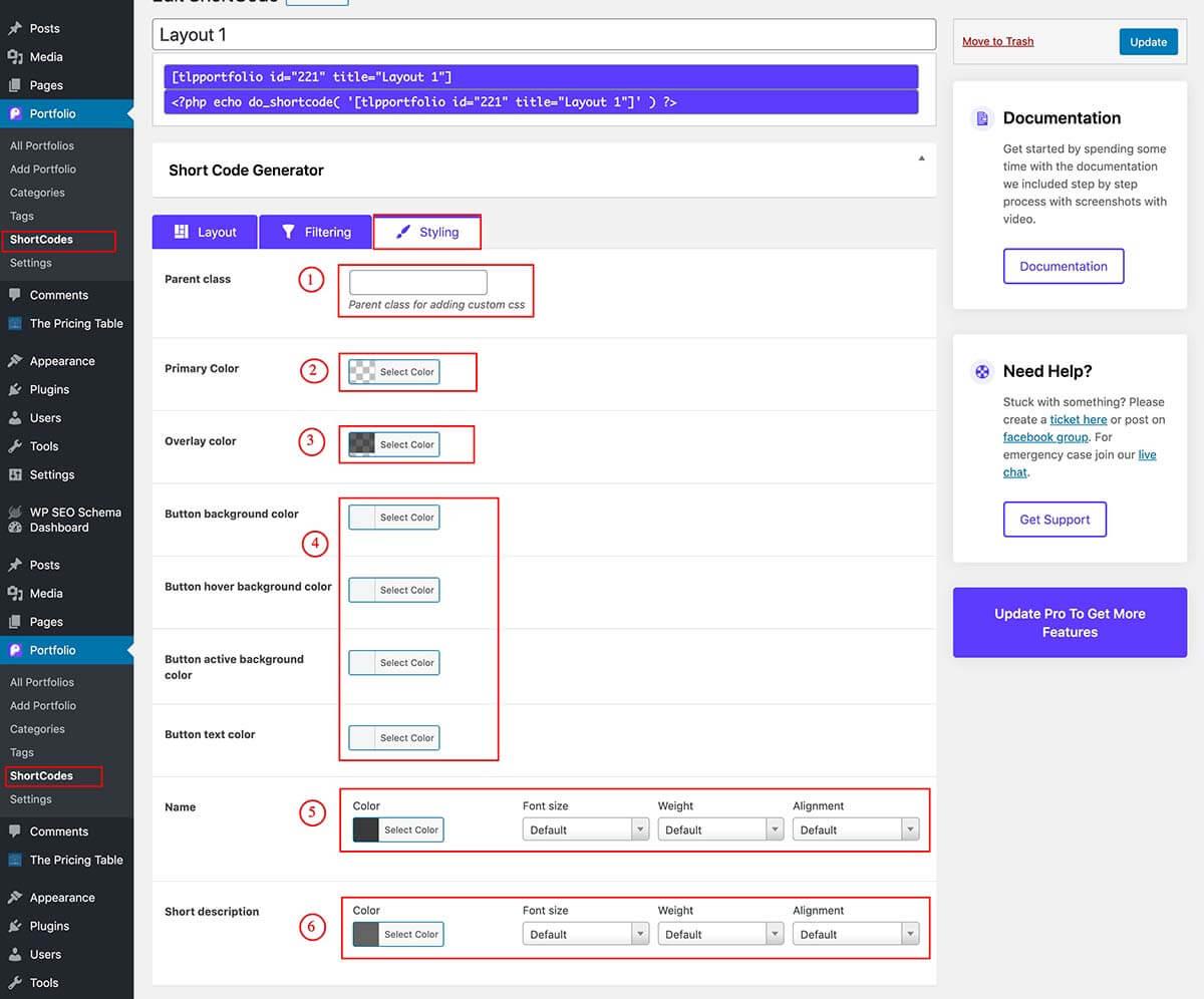 portfolio shortcode generator style