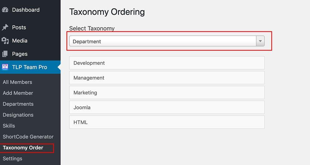 Taxonomy ordering Team member Pro