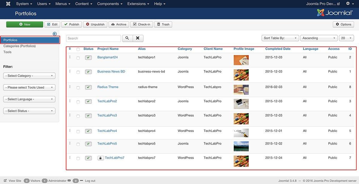 joomla_portfoliopro_admin_list-view