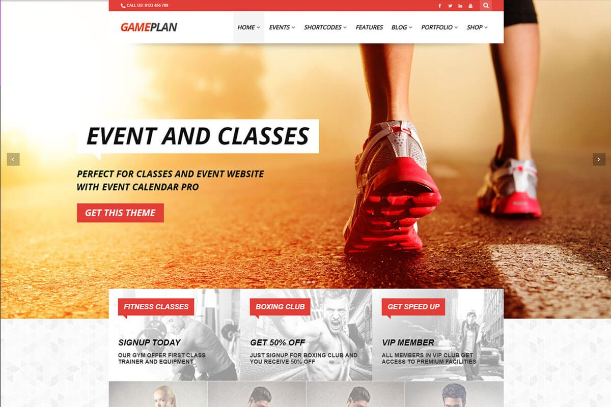 Gameplan is another best fitness wordpress themes