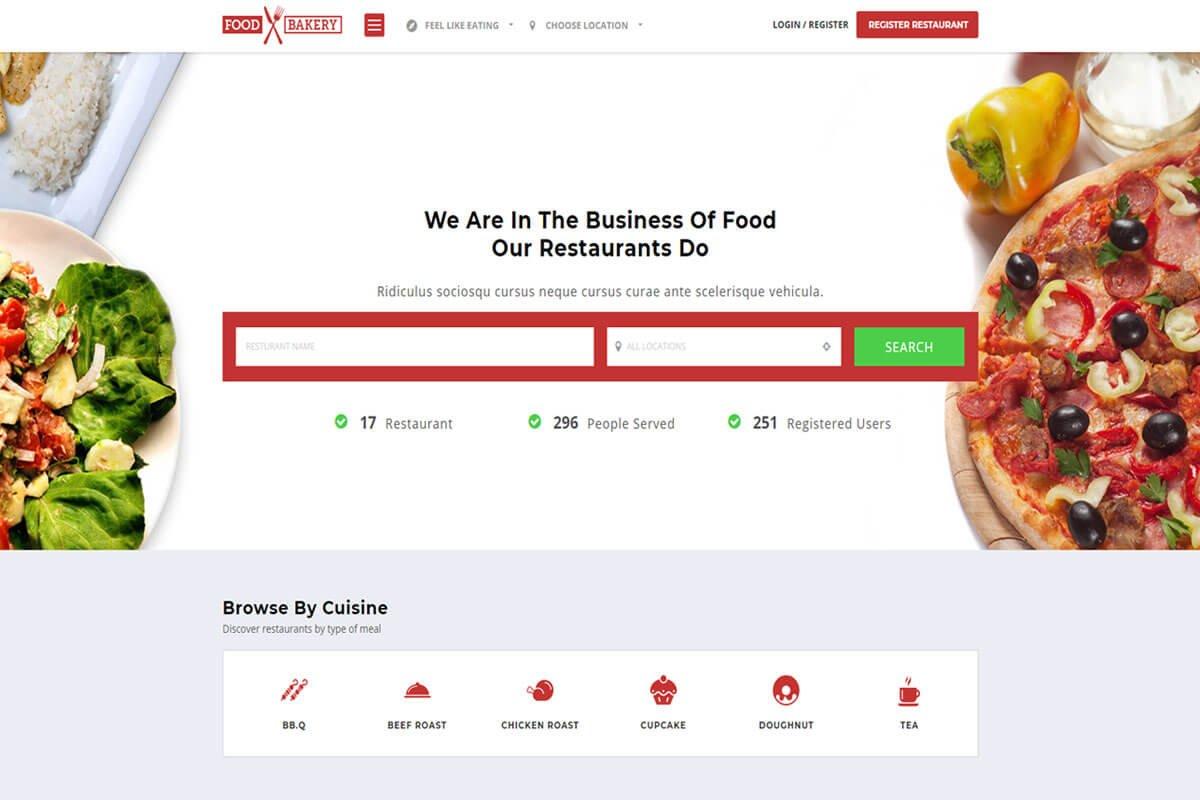 Food bakery Restaurant Directory WordPress Theme