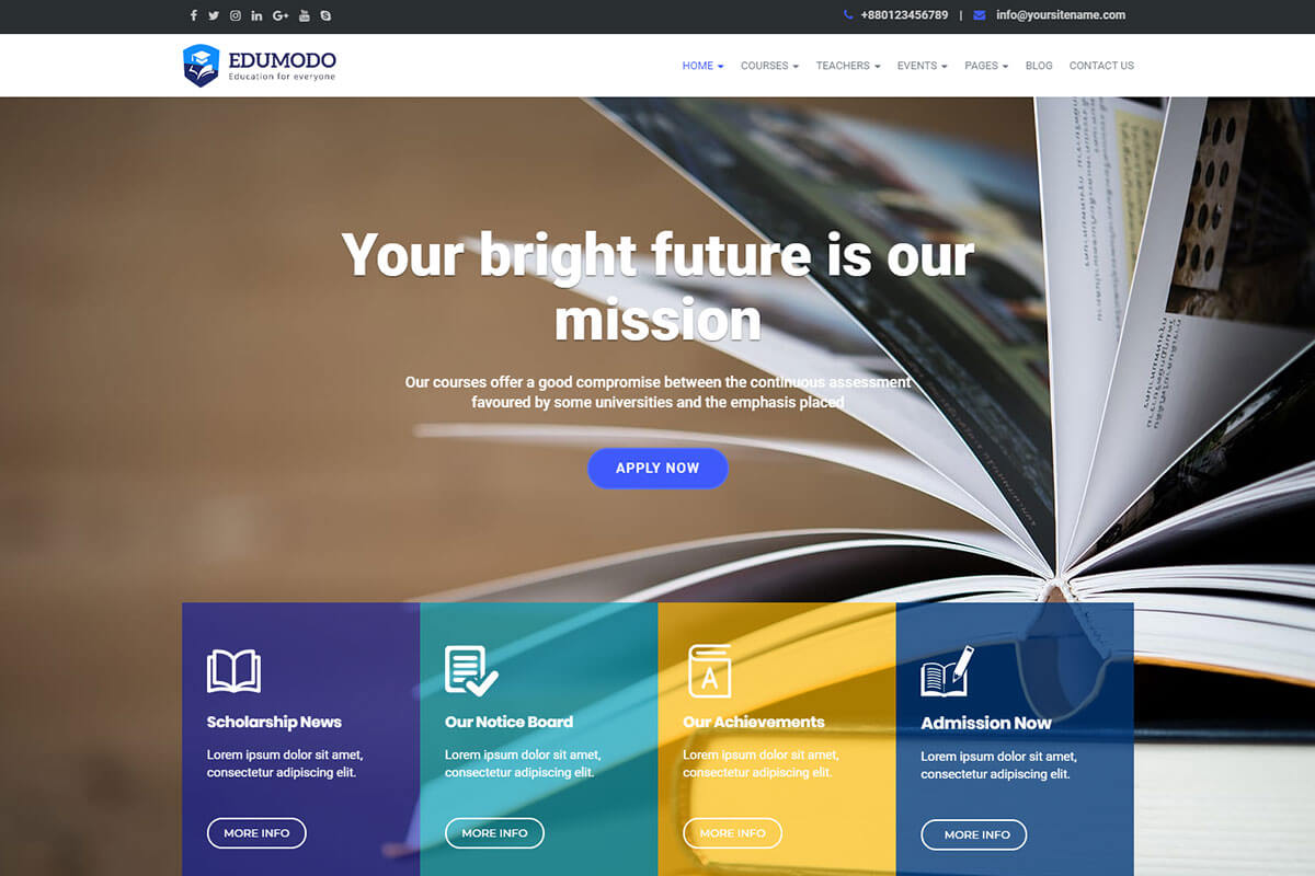 Edumodo Education WordPress theme for school website