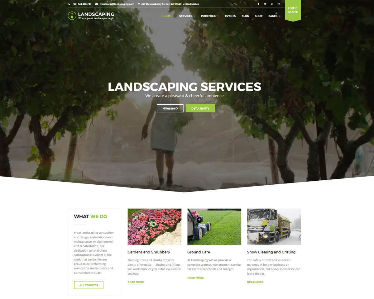 landscaping gardening wordpress theme