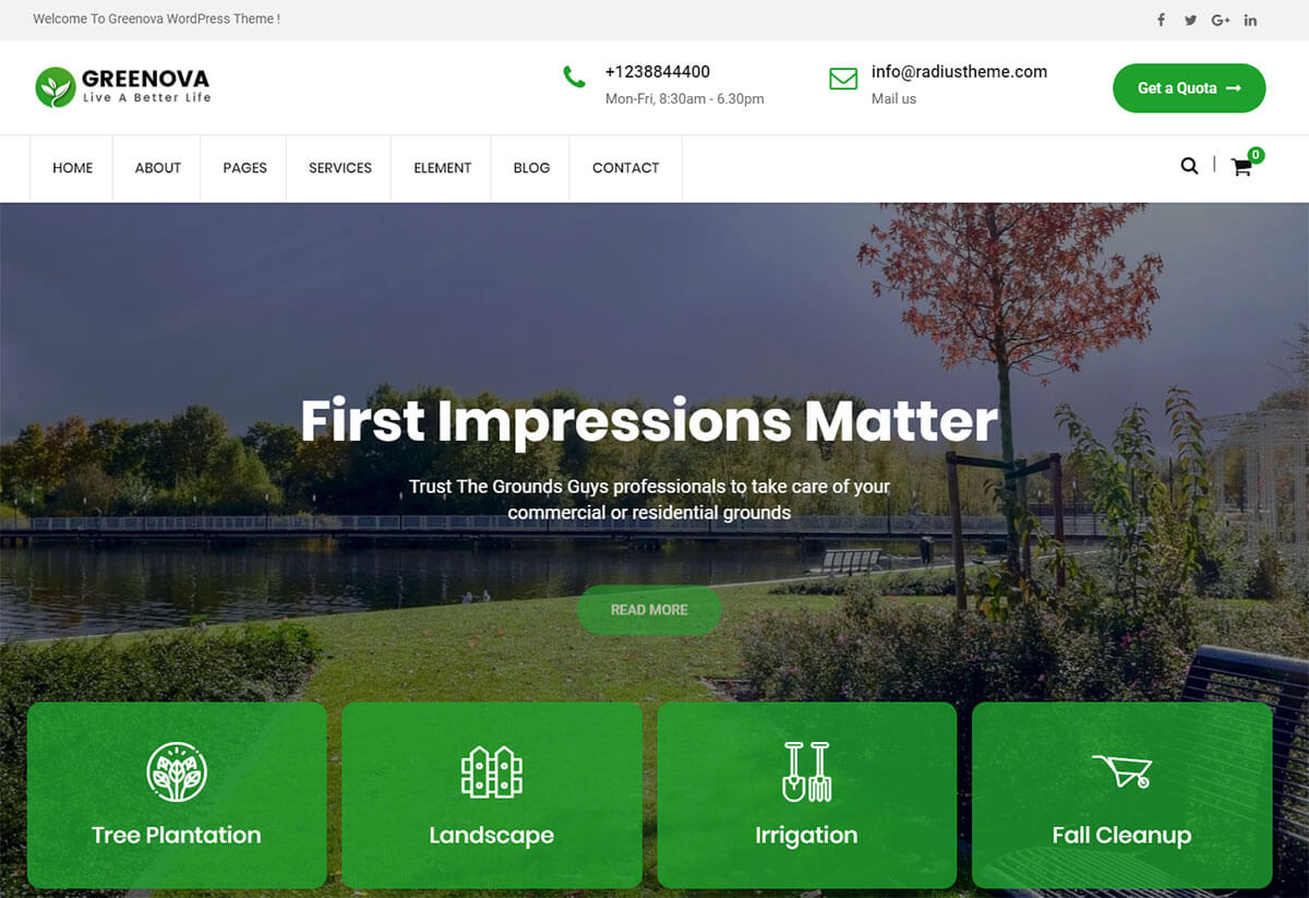 WordPress themes for landscaping business