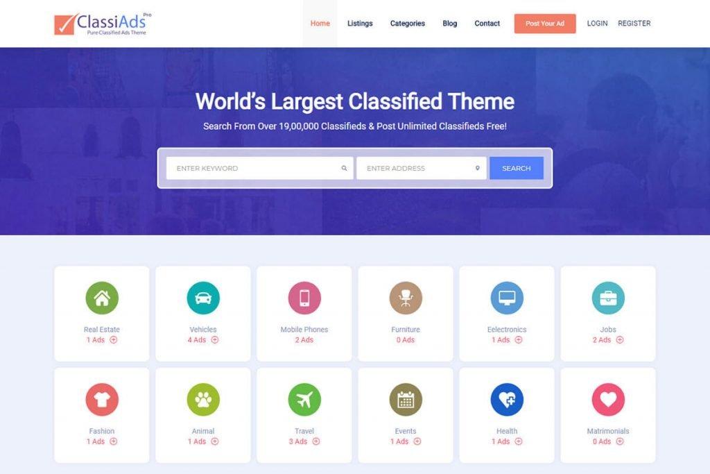 Classiads website WordPress Theme
