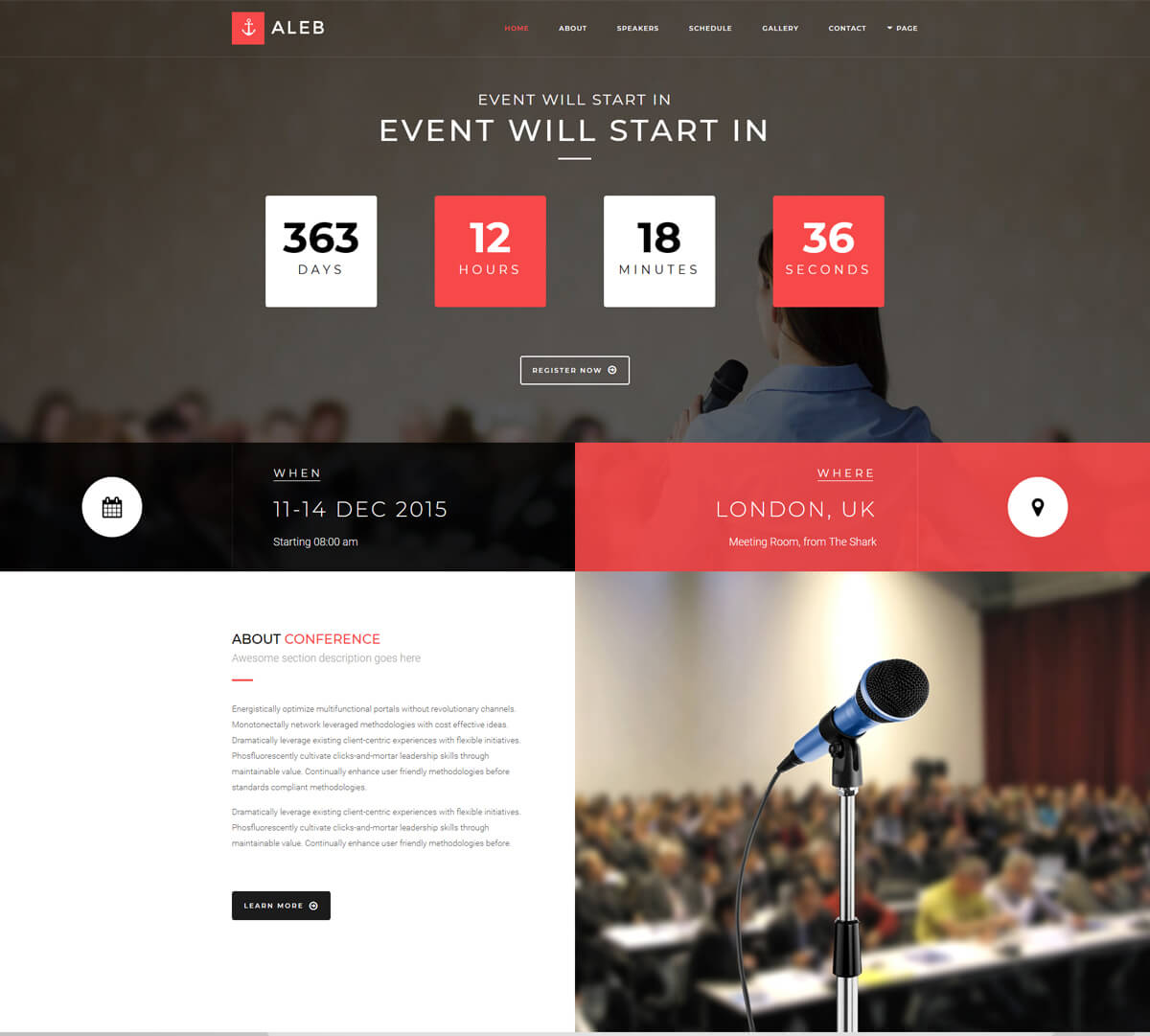 WordPress theme for event management company