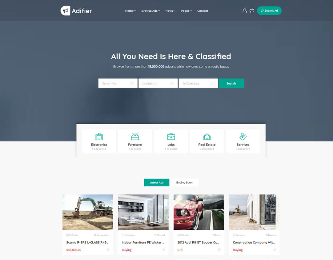 WordPress theme for classified website