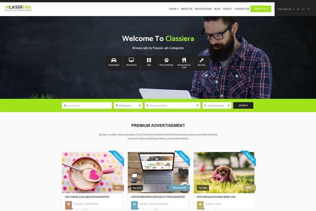 cassiera classified wordpress theme