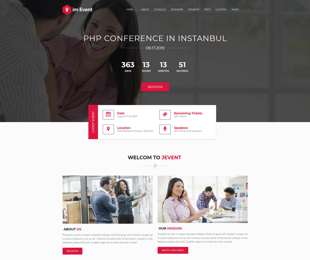 WordPress theme for conference website