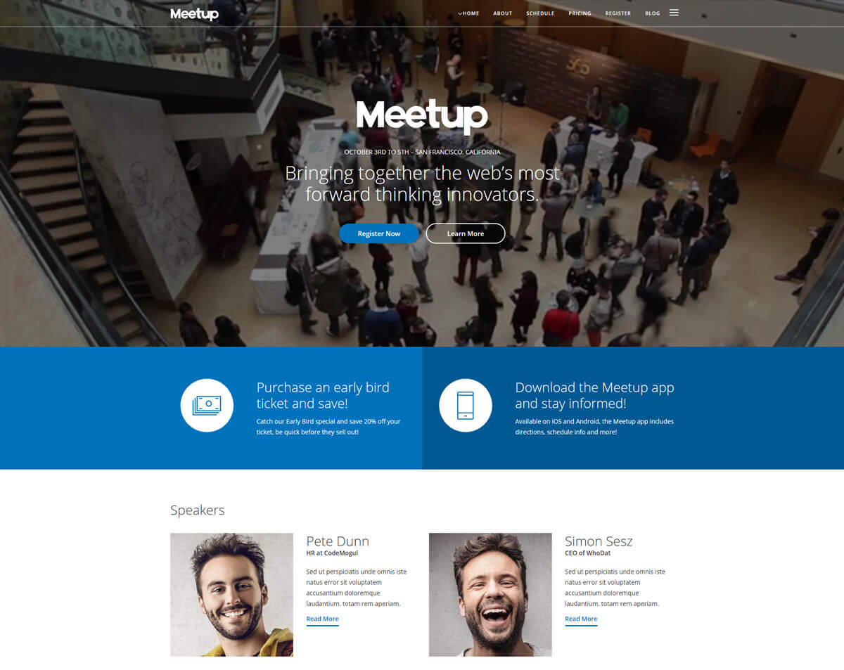 responsive WordPress theme for conference website