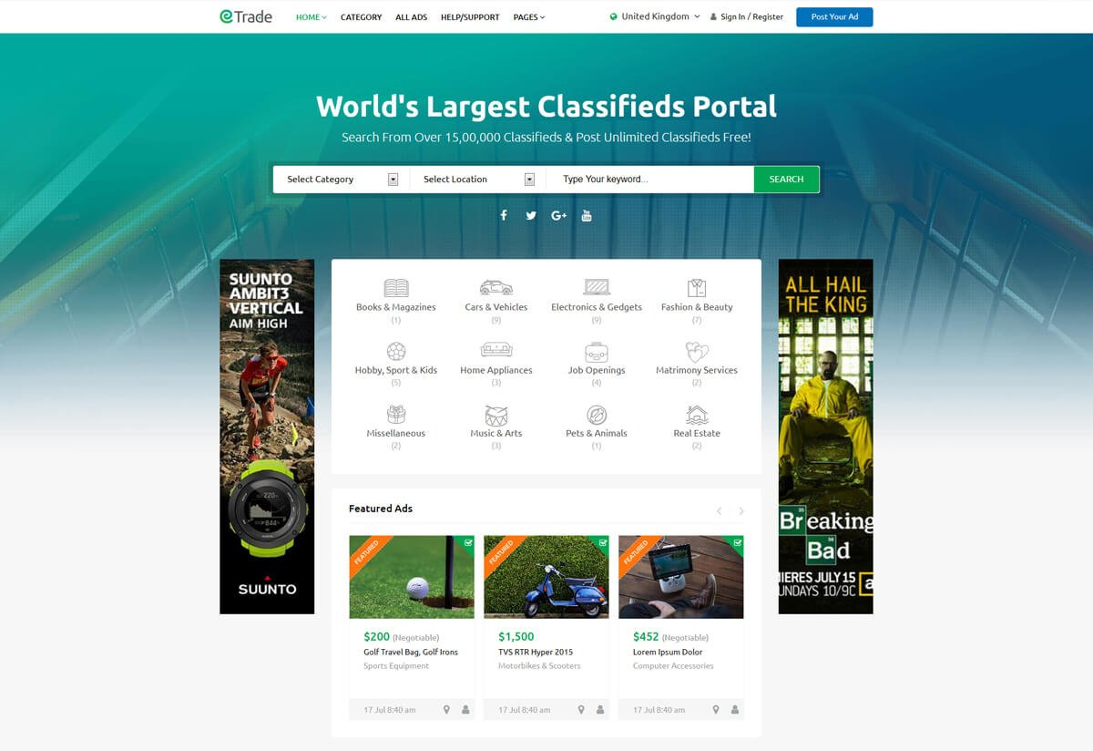 responsive WordPress theme for classified ads
