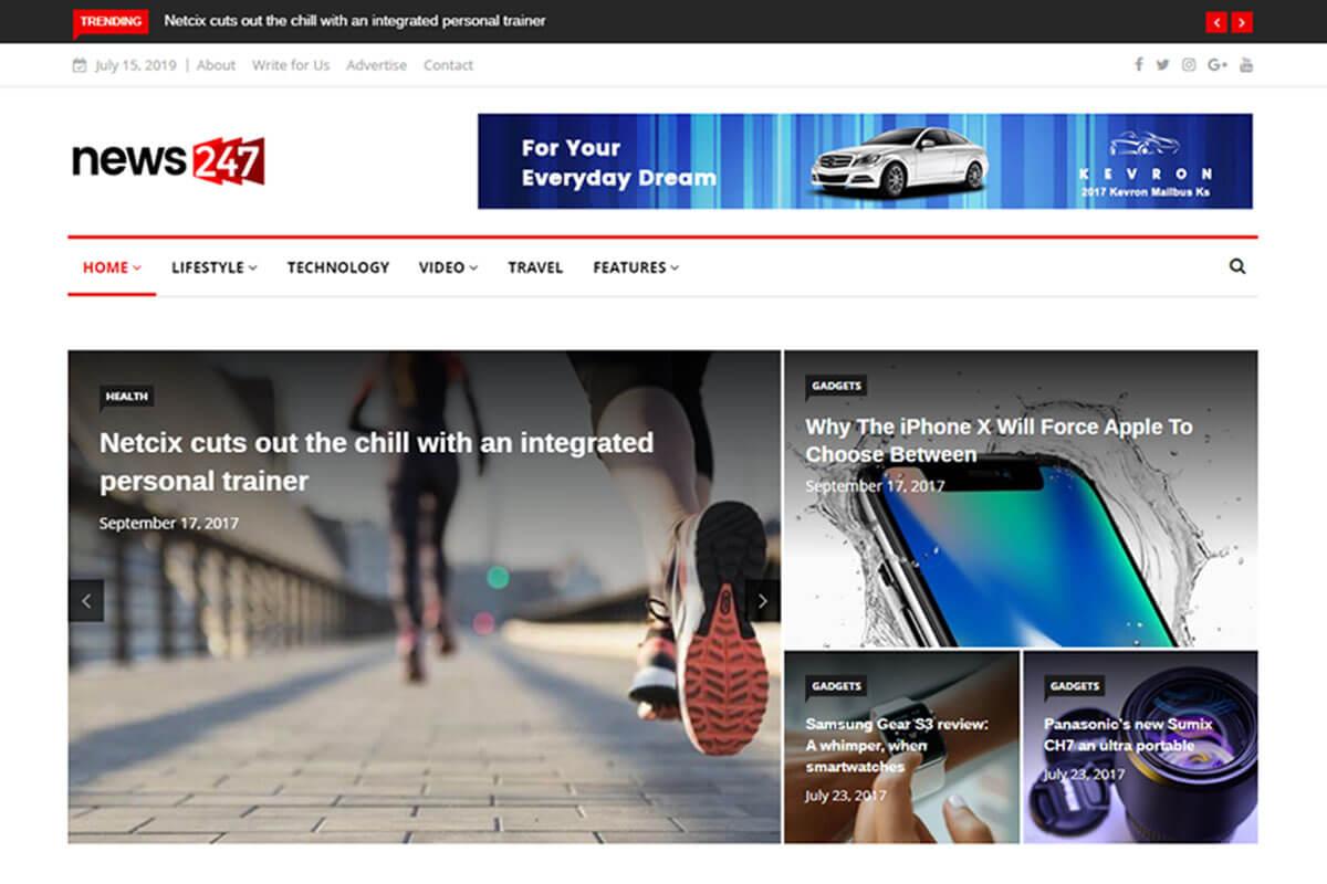 News247 is news wordpress theme