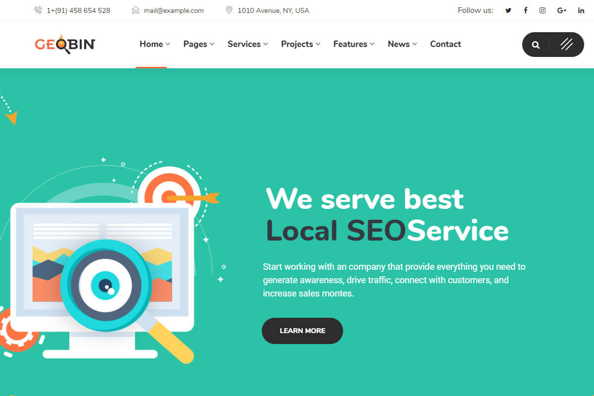 Geobin Seo agency wordpress theme