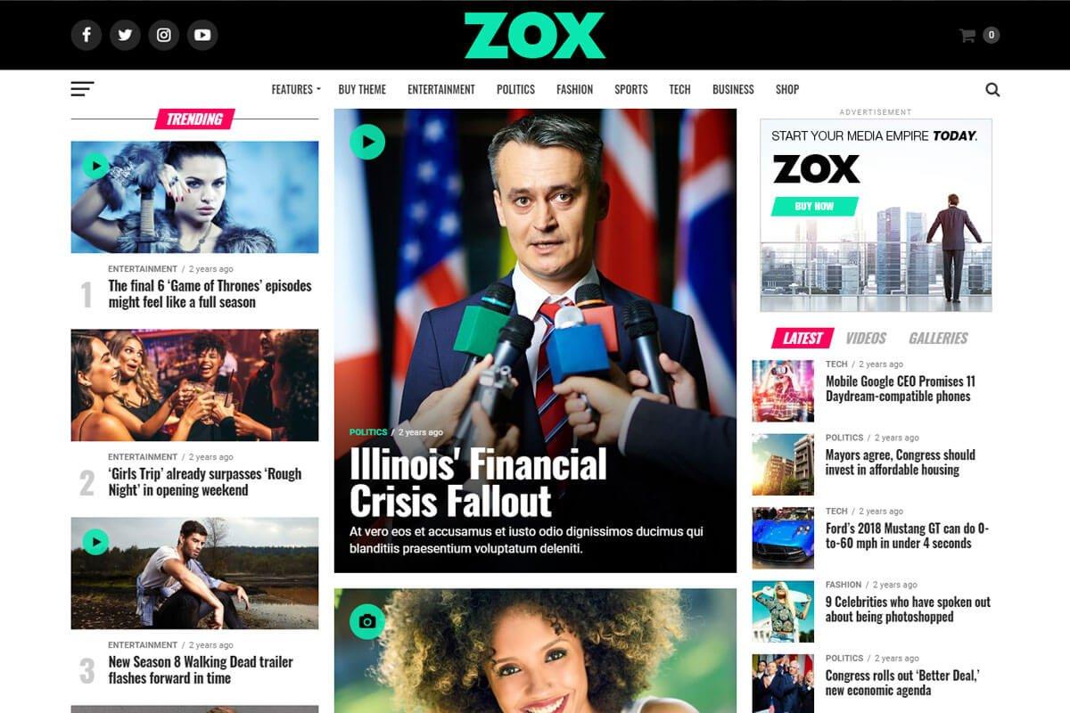 zox news news magazine wordpress theme