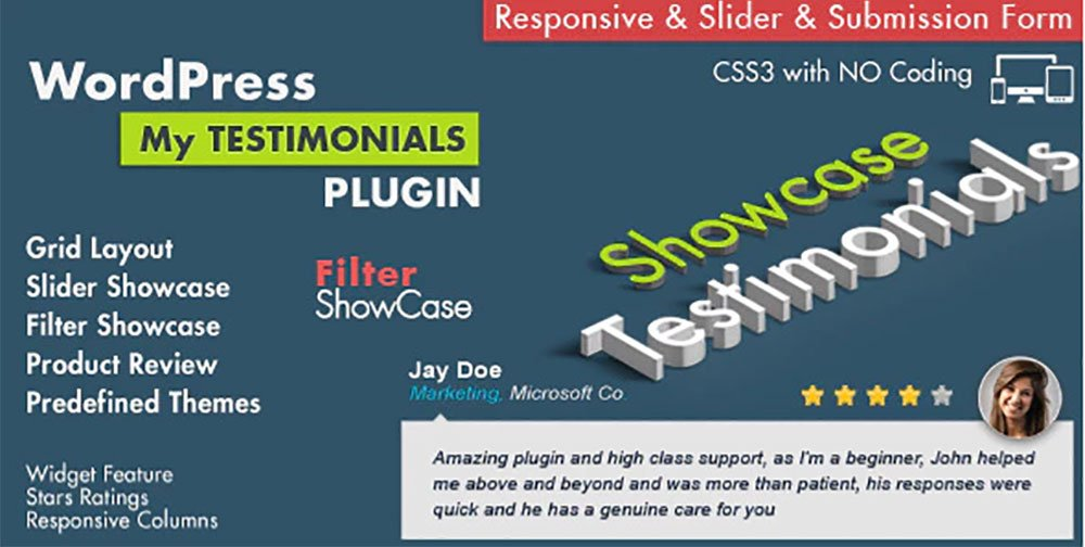 Testmonial Showcase wordpress plugins