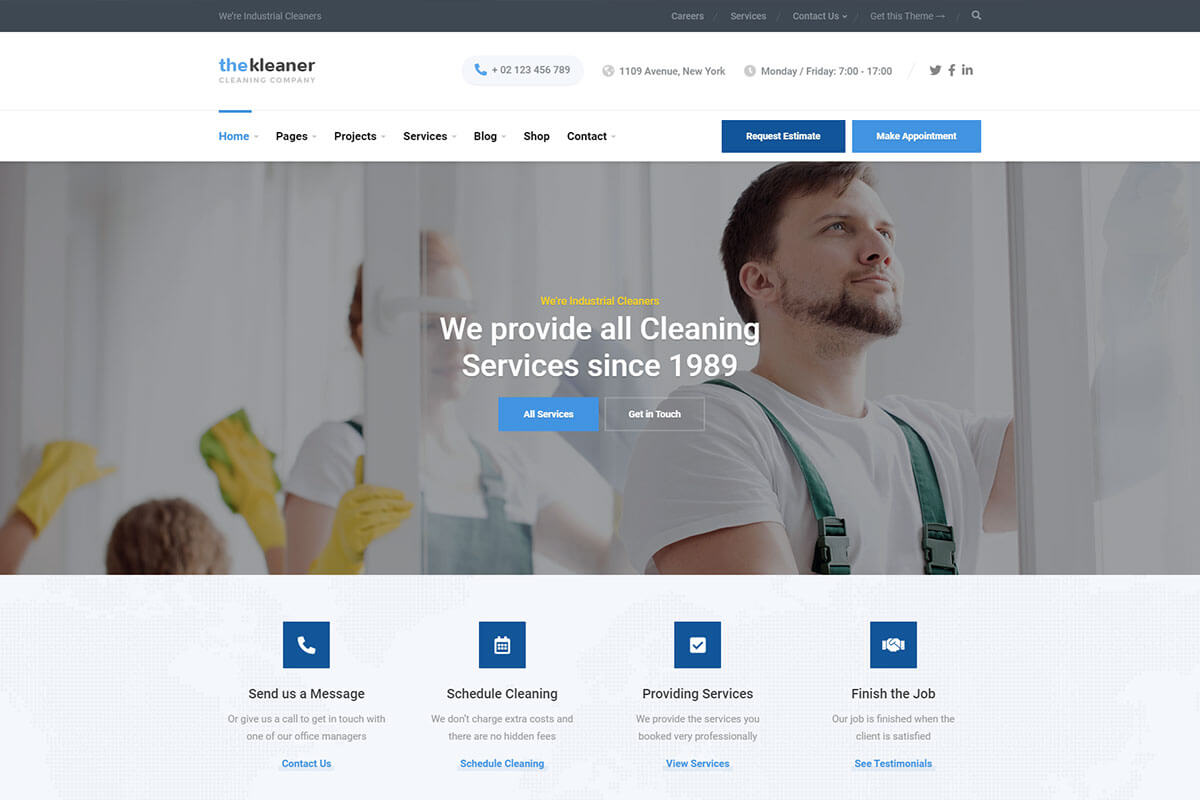 The Kleaner Theme is cleaning company wordpress theme