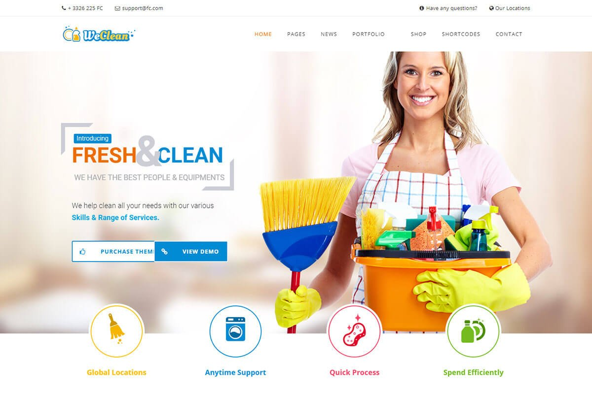 cleaning service company wordpress theme