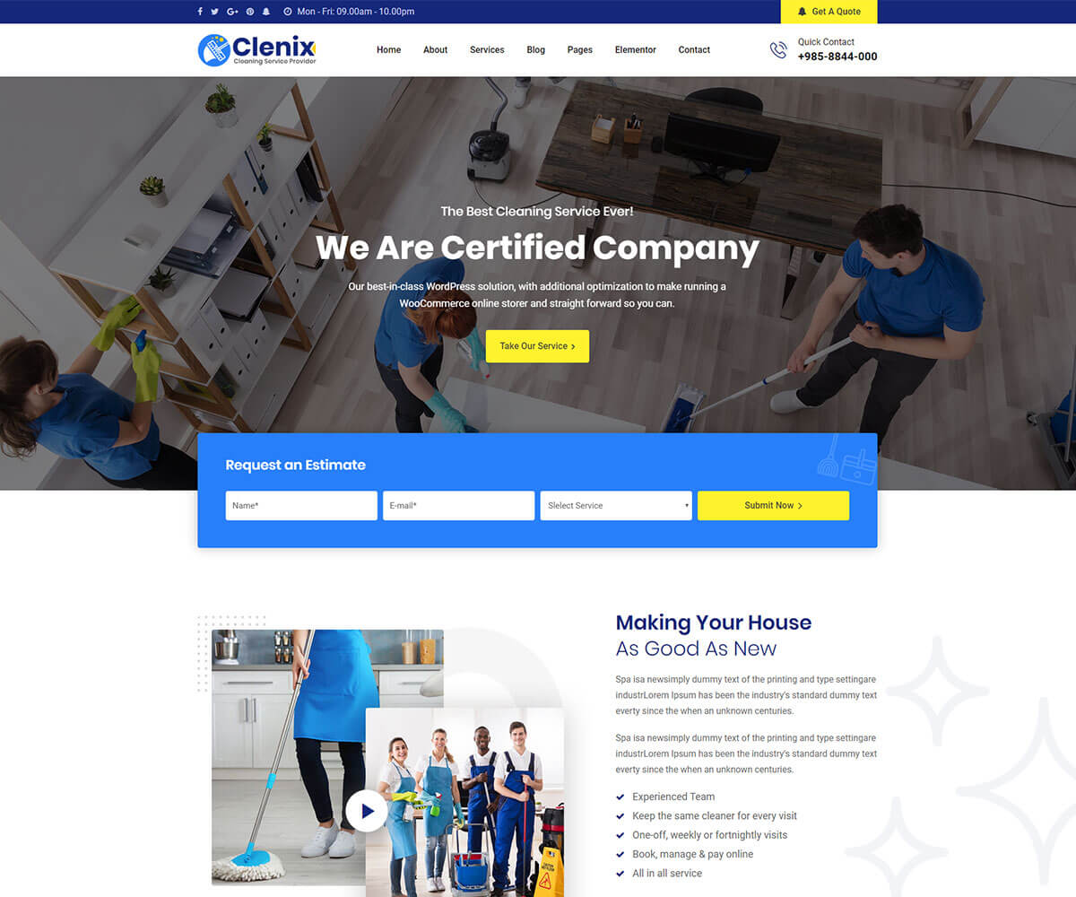cleaning business wordpress theme for cleaning company