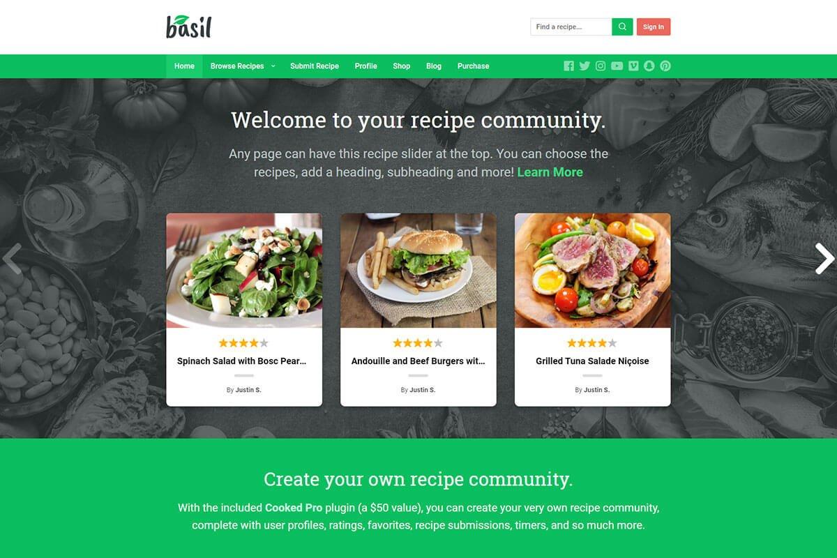 Basil one of the good food recipe WordPress theme