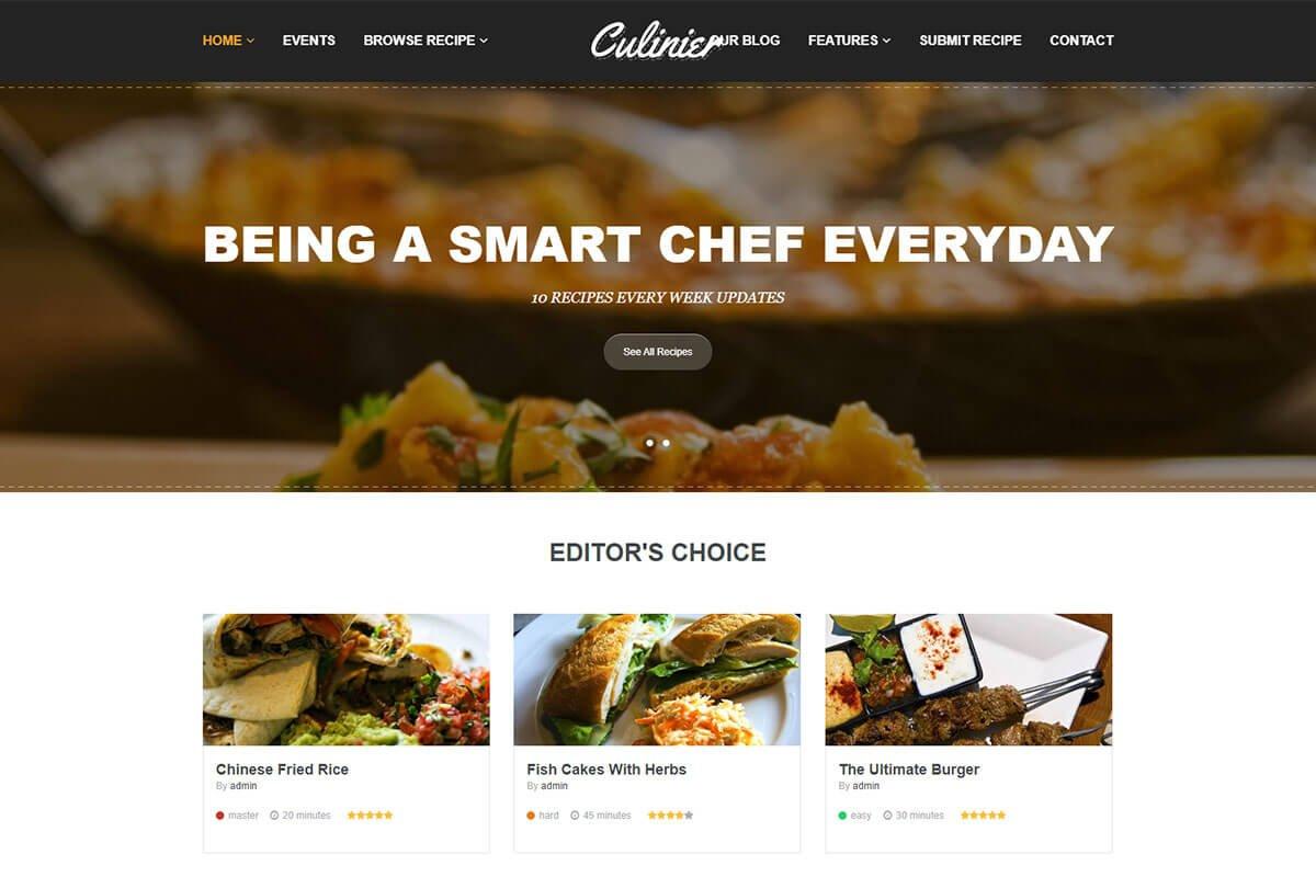 responsive food recipe WordPress theme