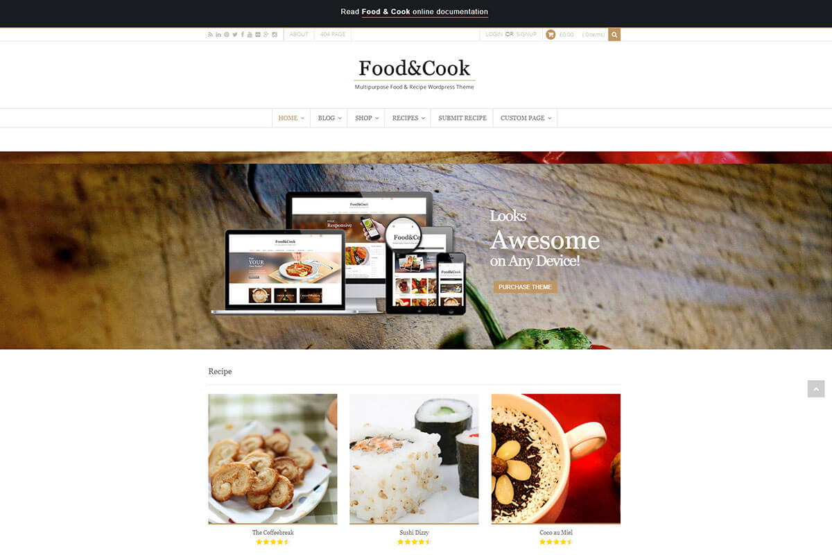 Food & Cook another best recipe WordPress theme