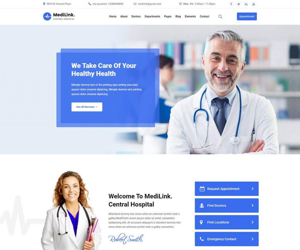 Medilink SEO friendly WordPress Theme