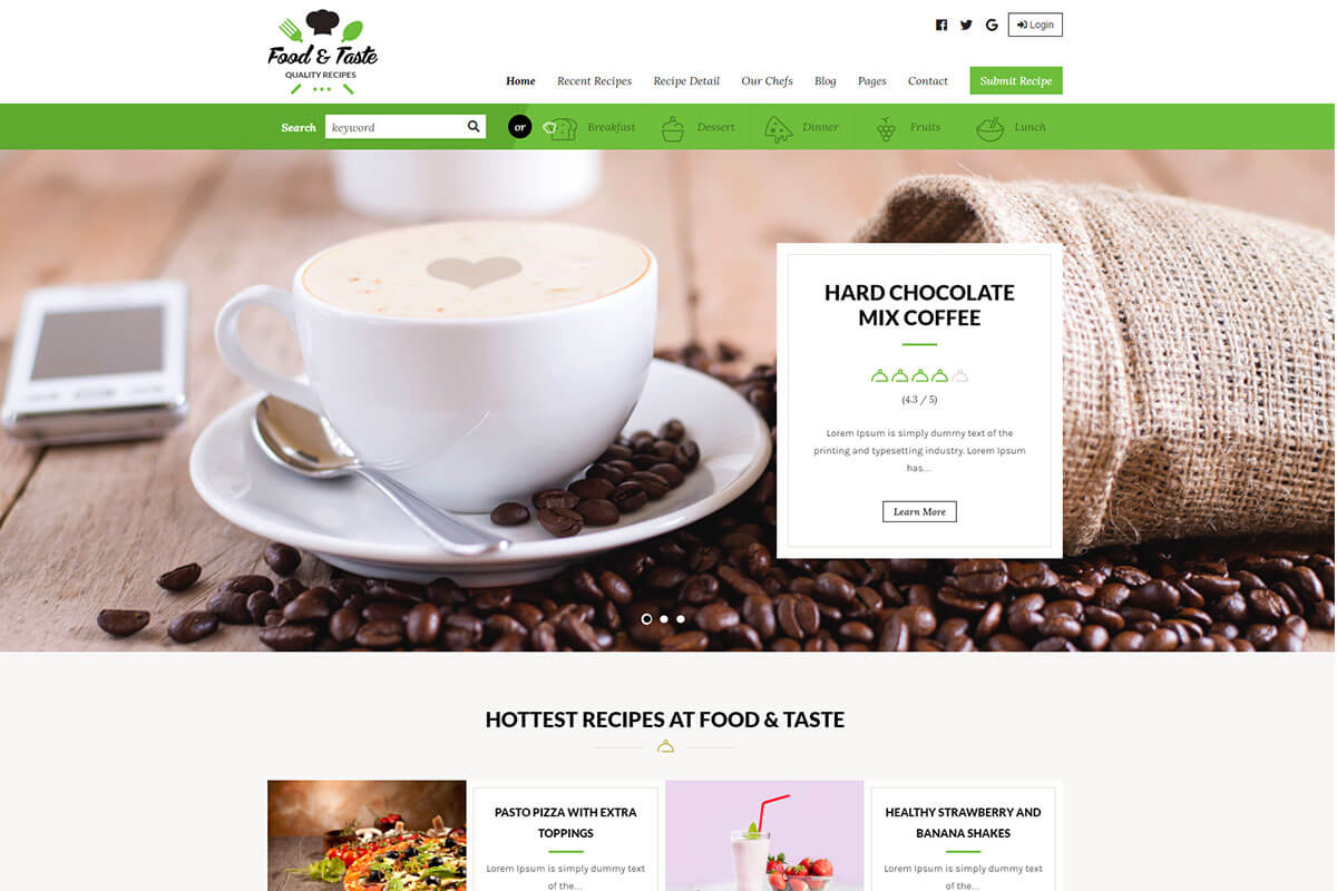 RecipePress another best food recipes wordpress theme