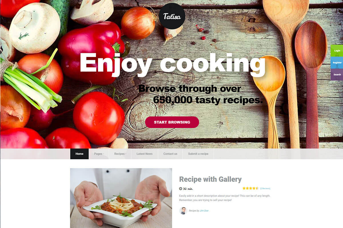 Talisa is the recipes wordpress theme