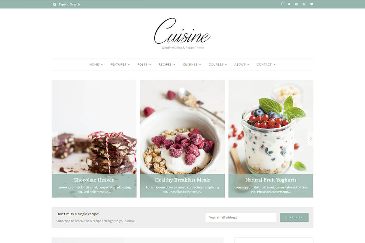 recipe blog WordPress theme