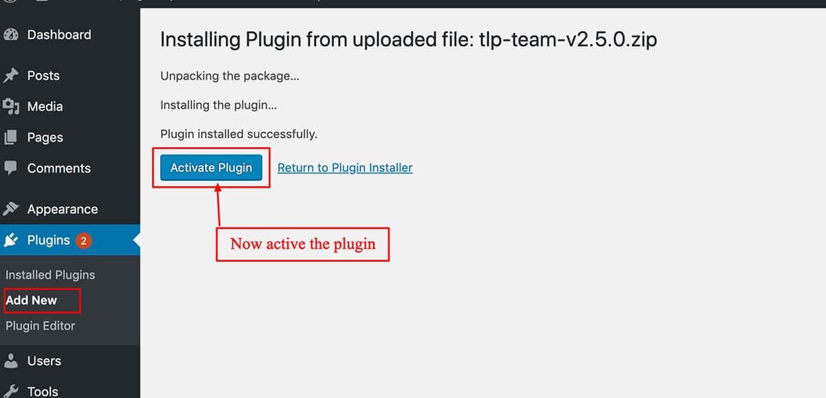 Installing Team Plugin