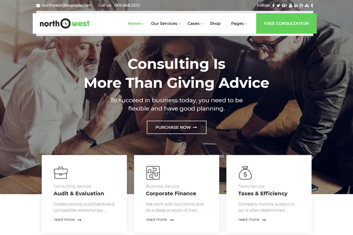 eliable WordPress themes for consulting business