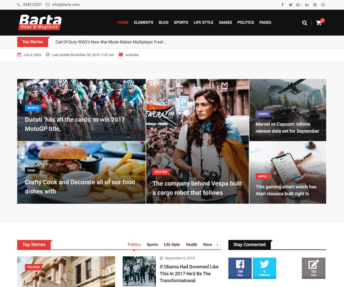 Barta news WordPress templates