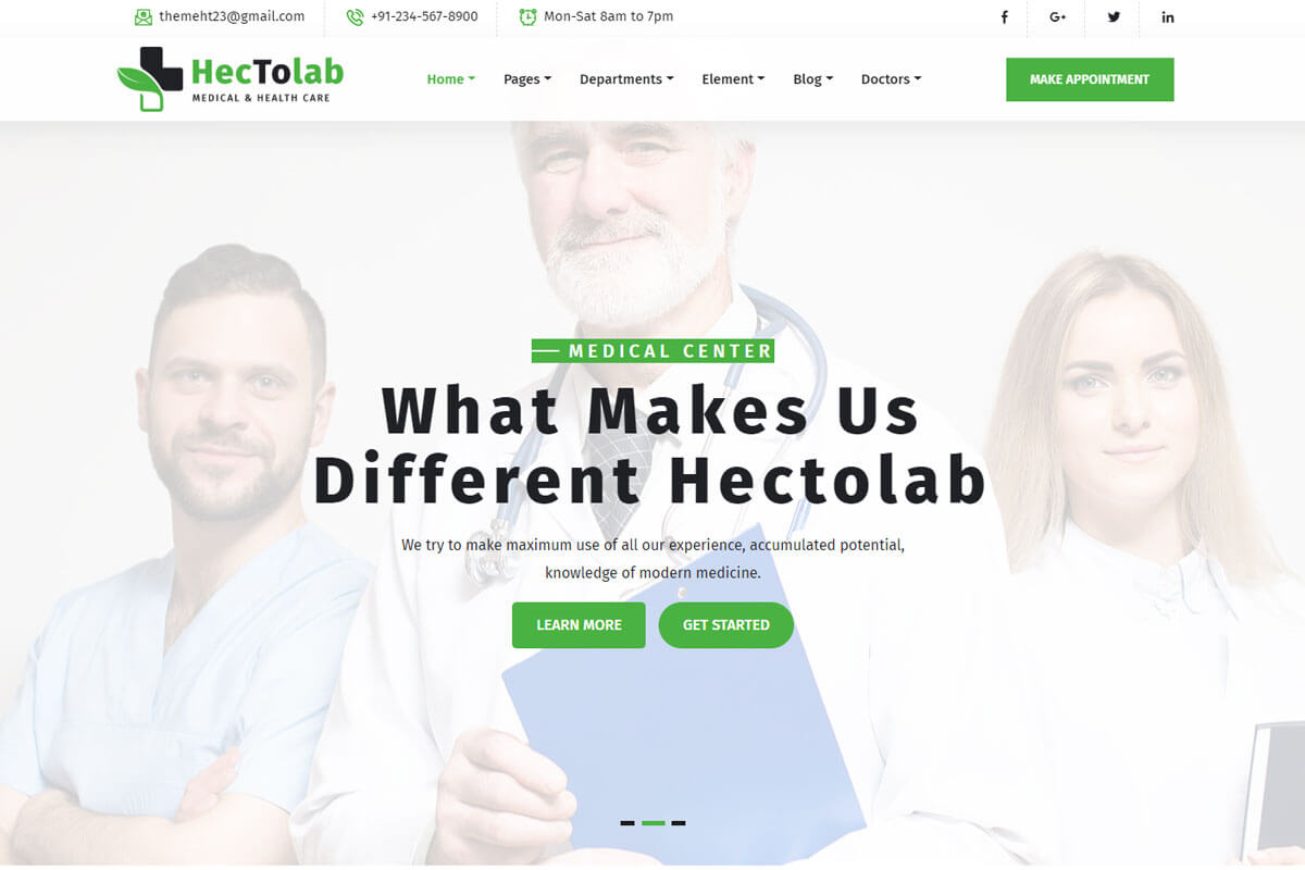 Hectolab is the medical clinic website templates
