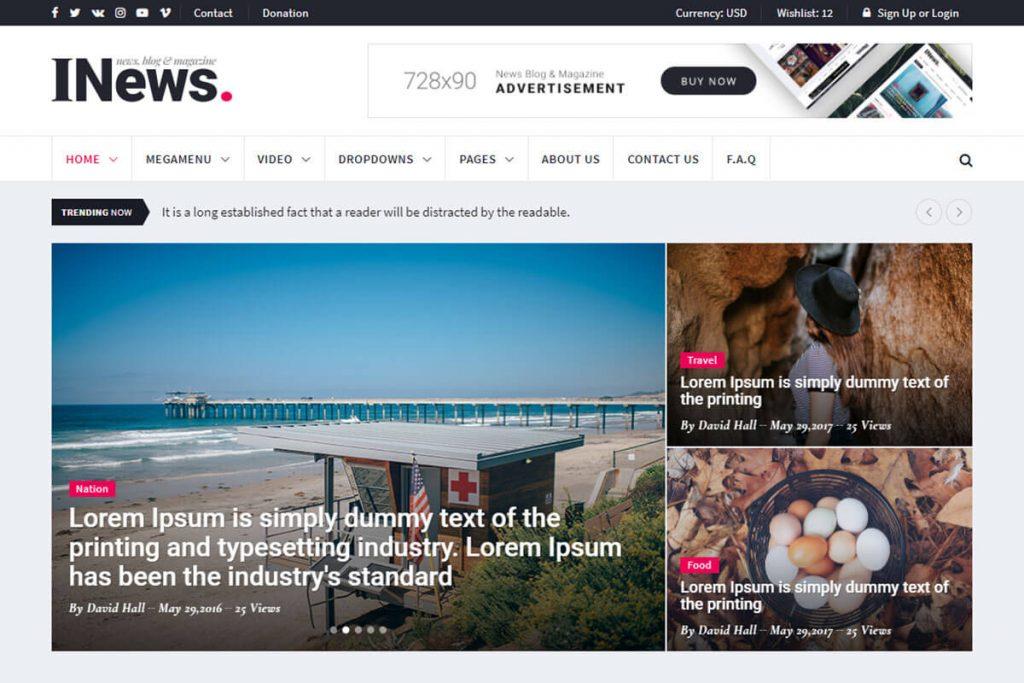 news HTML template
