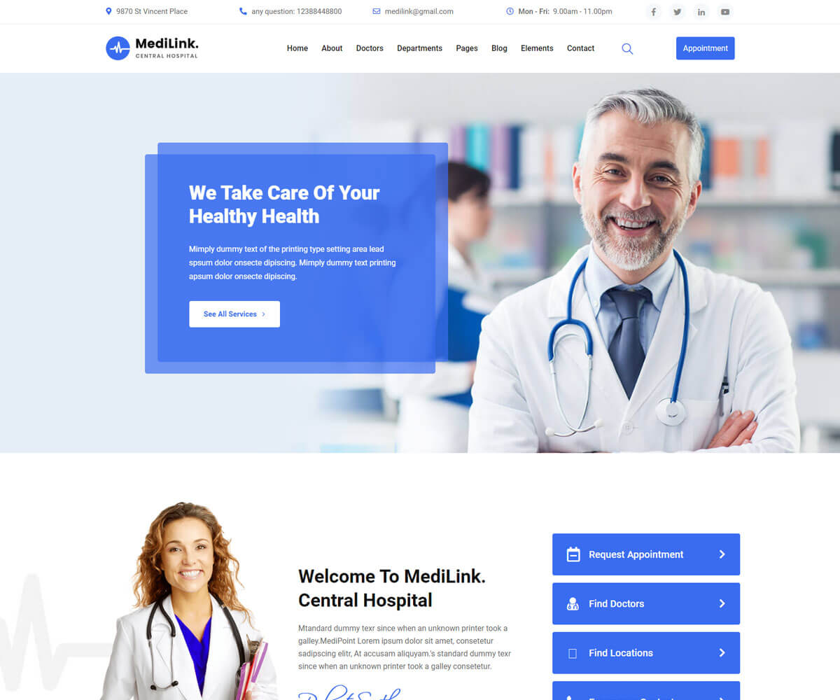 Medilink one of the best medical WordPress templates