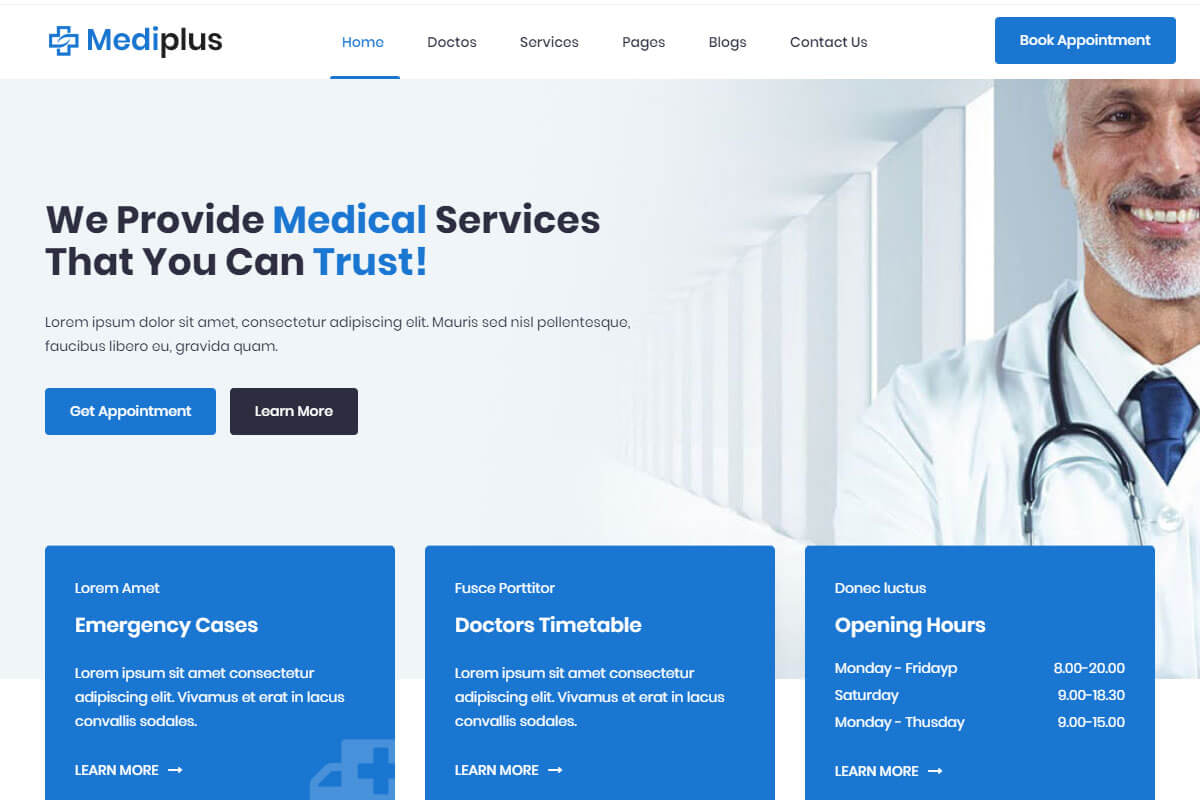 Mediplus is another nice medical website templates