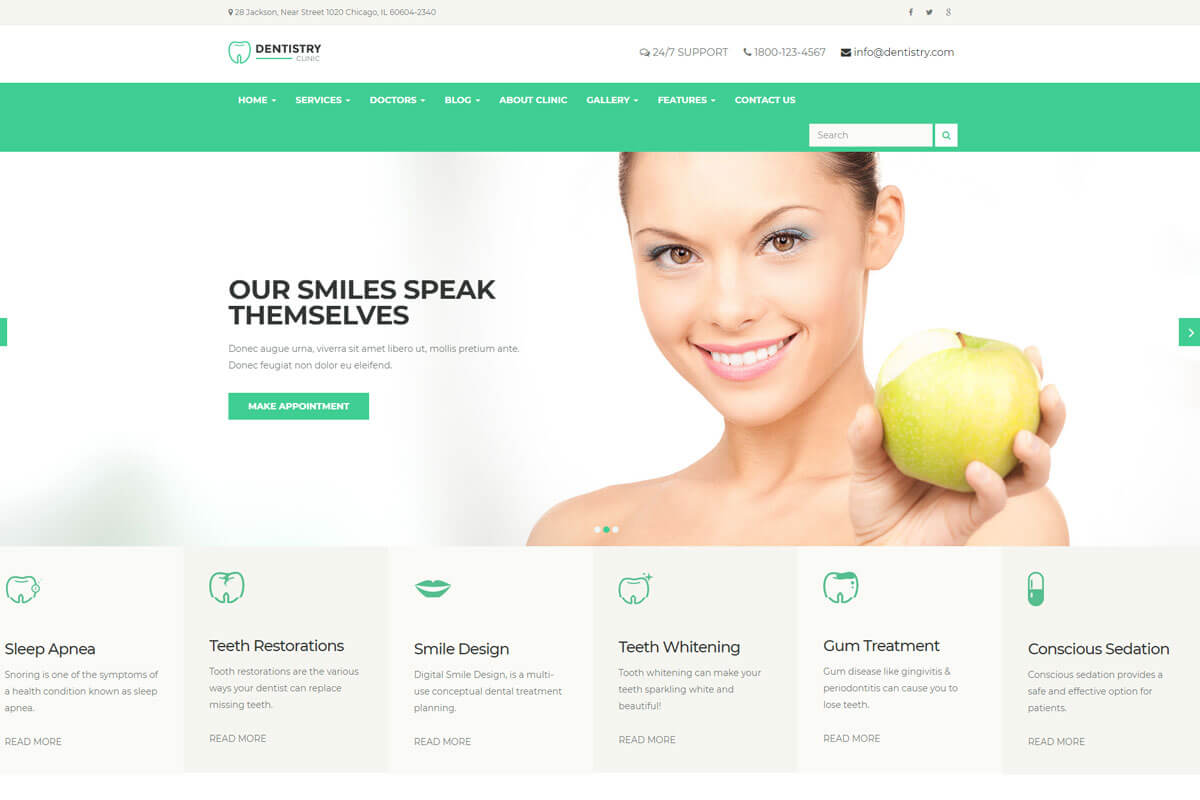 meditemp is nice health clinic website templates