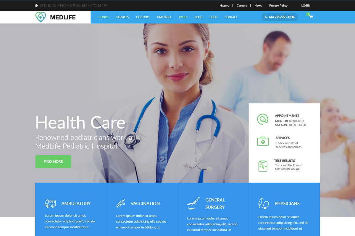 hospital website templates