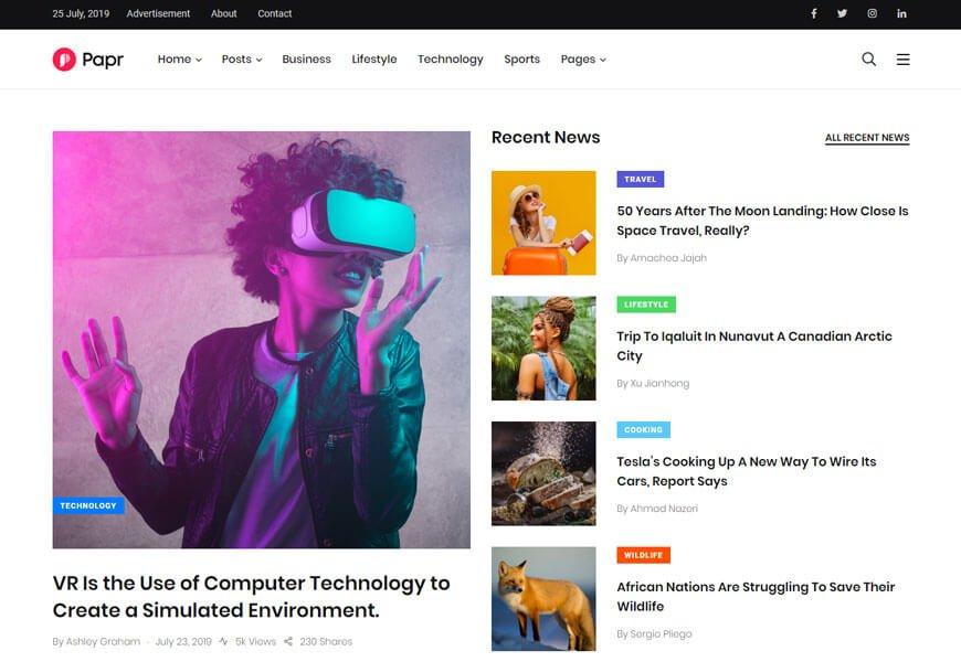 news website templates bootstrap