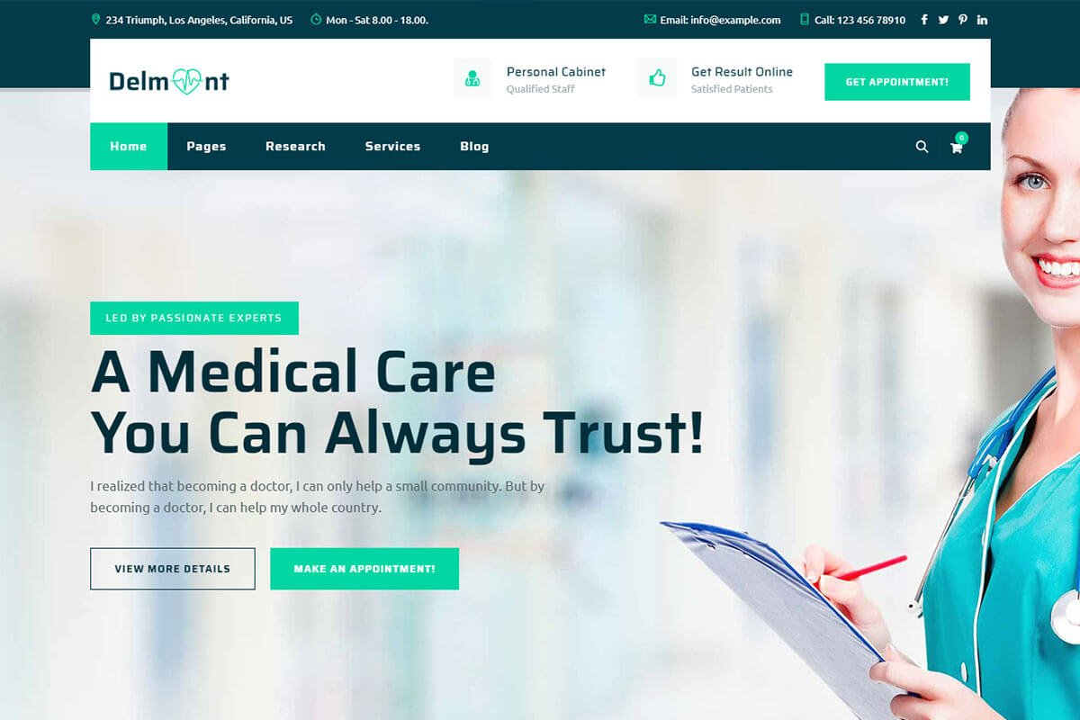 bootstrap medical website template
