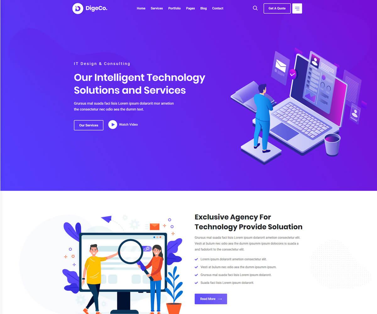 Digeco is digital agency wordpress theme