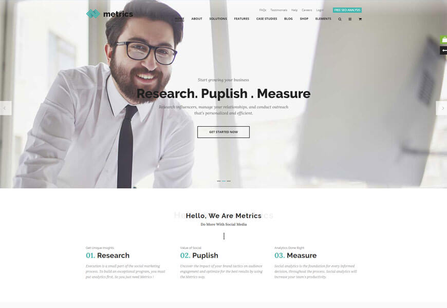 Metrics is wordpress theme for digital marketing agency