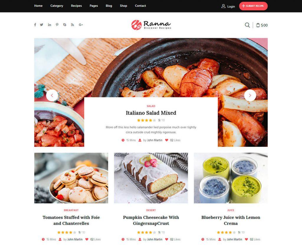 recipe blog html template