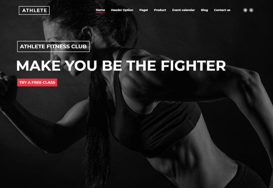 fitness wordpress template