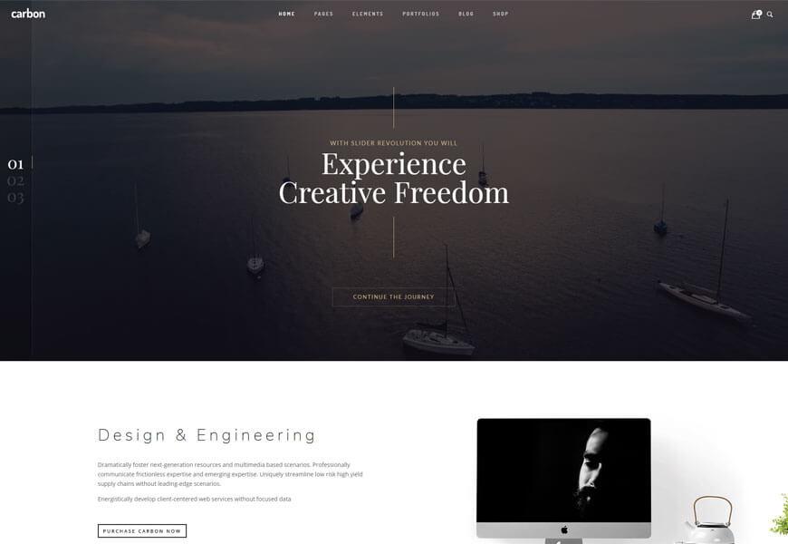 carbon is beautiful minimalist WordPress theme