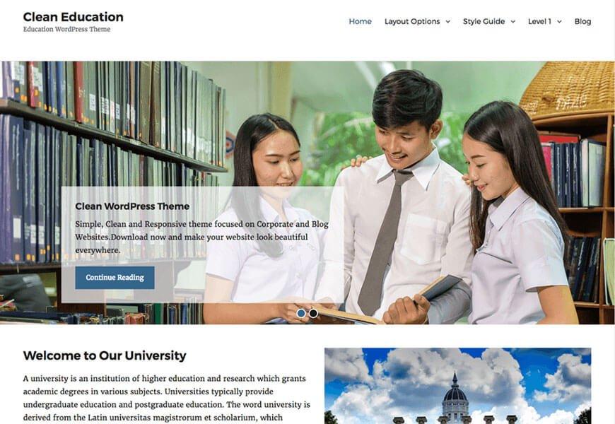 clean education free wordpress theme