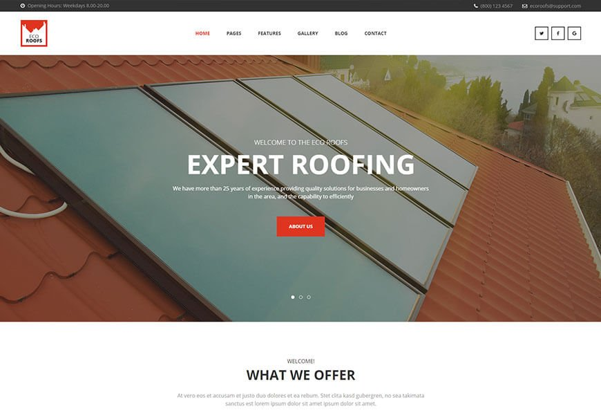 html template for roofing company